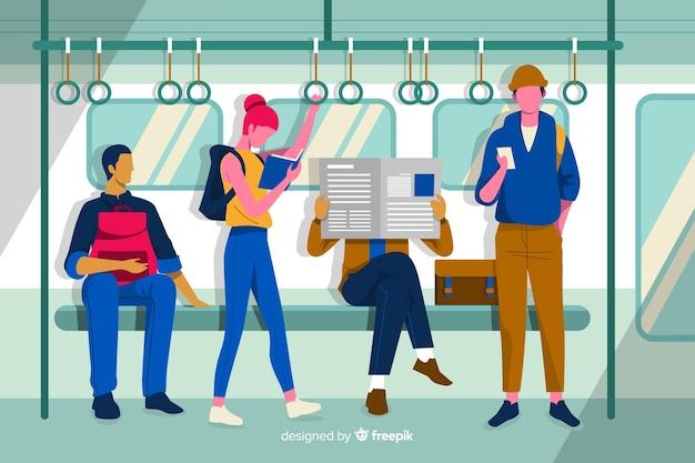 Vlakke mensen in de metro