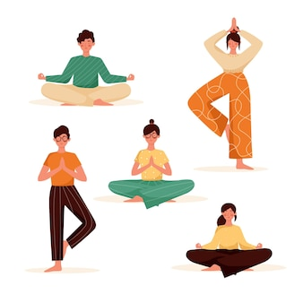 Vlakke mensen mediteren illustratie