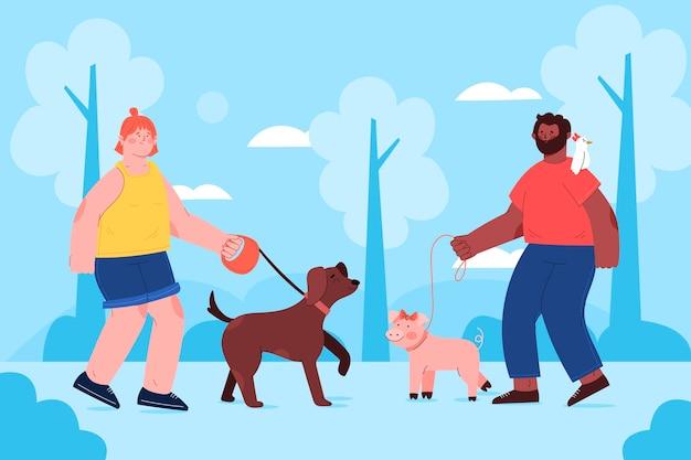 Vlakke mensen met huisdieren in park