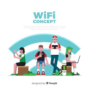 Vlakke mensen met wifi-teken achtergrond