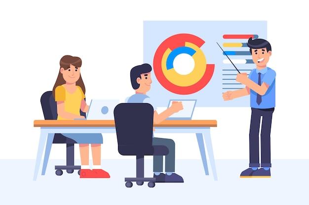 Vlakke mensen op zakelijke training illustratie