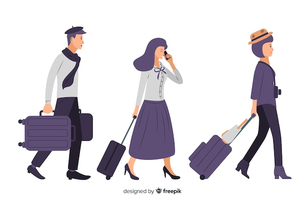 Vlakke mensen reizen collectie