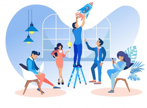 Vlakke mensen werken in office om websites te ontwikkelen.