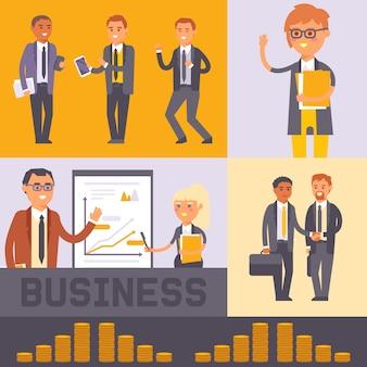 Vlakke mensen zakenman tekens vector illustratie. business man en vrouw in formele zwarte pakken handen schudden. werknemers team. mensen staan in de buurt van presentatie