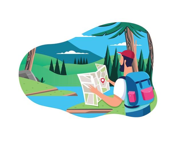 Vlakke mensenconcept met materiaalreis op bos en rivierachtergrond met mooi landschap.