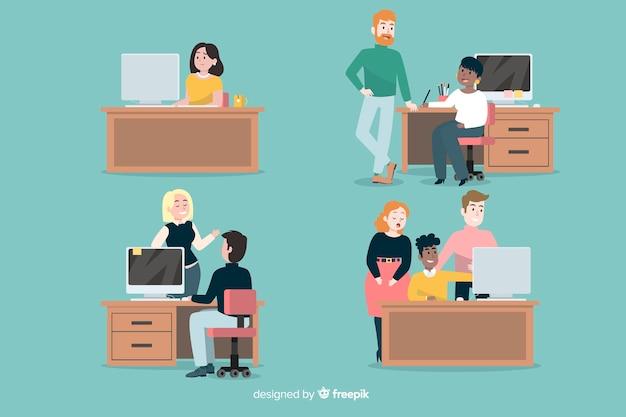 Vlakke mensenscènes op kantoor