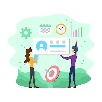 Vlakke moderne sociale media marketing vectorillustratie