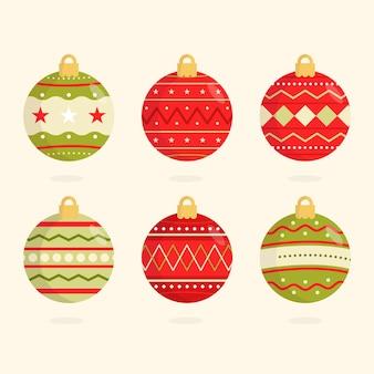 Vlakke mooie kerstballen