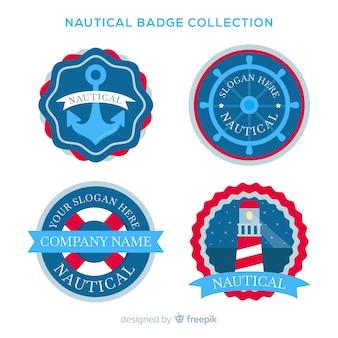 Vlakke nautische badgecollectie