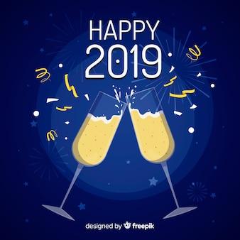 Vlakke nieuwe jaar 2019 achtergrond