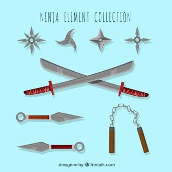 Vlakke ninja wapencollectie