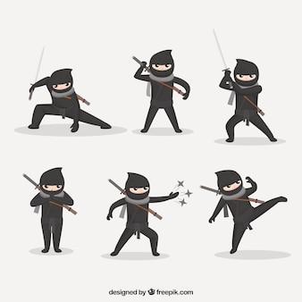 Vlakke ninjakarakterinzameling in verschillende stellen