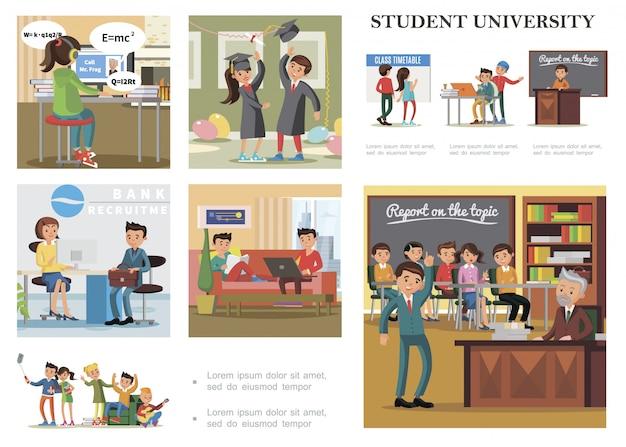Vlakke onderwijs kleurrijke compositie met studenten die leren studeren, ontspannen, baan krijgen door examen te doen en afstuderen aan de universiteit te vieren