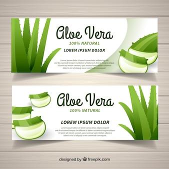 Vlakke ontwerp aloë vera producten banner