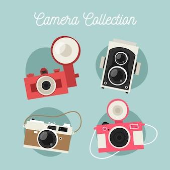Vlakke ontwerp schattige camera collectio