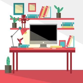 Vlakke ontwerp vector illustratie van moderne creatieve kantoor werkruimte, werkplek met computer.