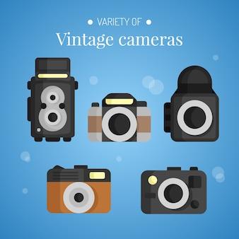 Vlakke ontworpen verscheidenheid aan vintage camera's