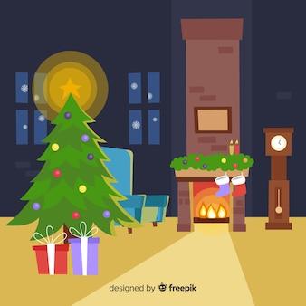 Vlakke open haard kerstmis achtergrond