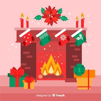 Vlakke open haard kerstmis illustratie