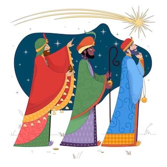 Vlakke openbaring met de drie wijze mannen