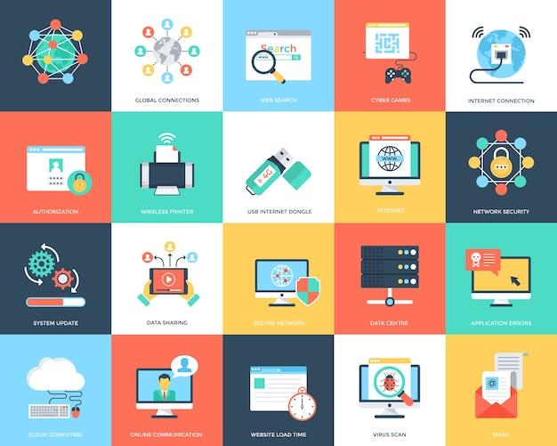 Vlakke pictogrammen internetbeveiliging en technologie