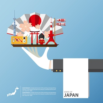 Vlakke pictogrammen ontwerp van japan bezienswaardigheden.