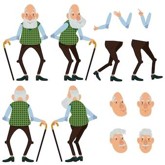 Vlakke pictogrammen set van de oude man met stok