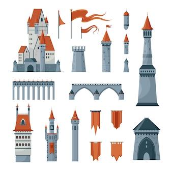 Vlakke pictogrammen set van middeleeuwse kasteel torens vlaggen geïsoleerd op een witte achtergrond afbeelding