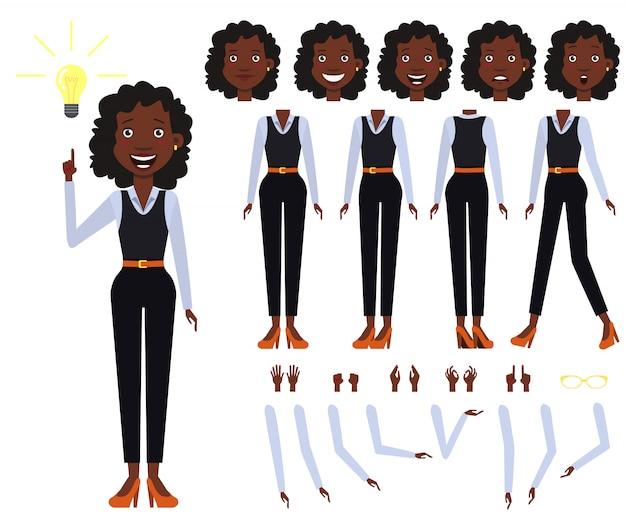 Vlakke pictogrammen set zwarte zakelijke vrouw weergaven, poses en emoties