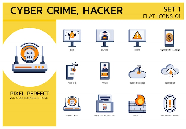 Vlakke pictogrammen stijl. hacker cyber misdaadaanval