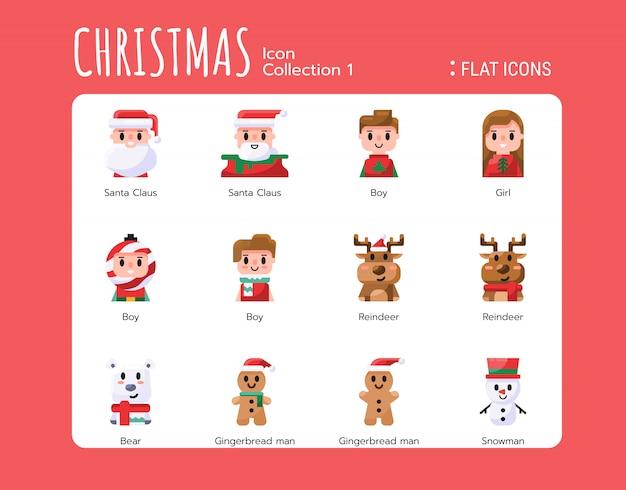 Vlakke pictogrammen stijl. kerst avatar