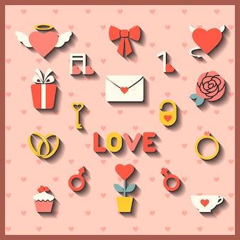 Vlakke pictogrammen voor bruiloft of valentijnsdag