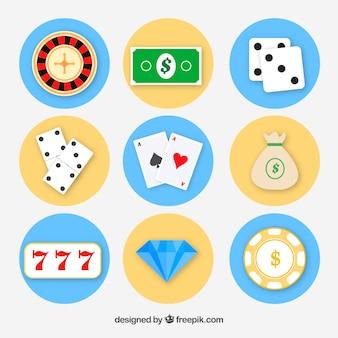 Vlakke pictogrammen voor casinospellen