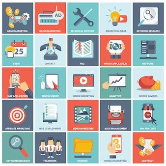 Vlakke pictogrammeninzameling van de voorwerpen van het webontwerp, zaken, bureau en marketing punten