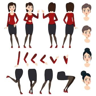 Vlakke pictogrammenreeks van aziatische dame