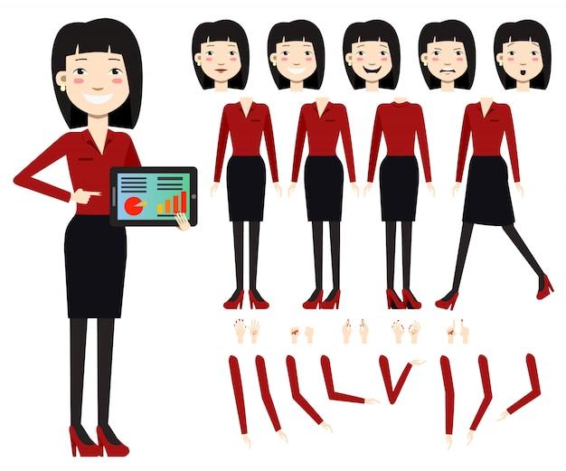 Vlakke pictogrammenreeks van bedrijfsvrouw met grafieken op het tabletscherm