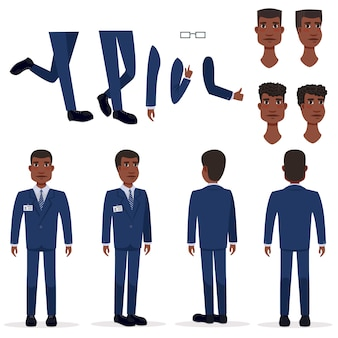 Vlakke pictogrammenreeks van de zwarte bedrijfsmens