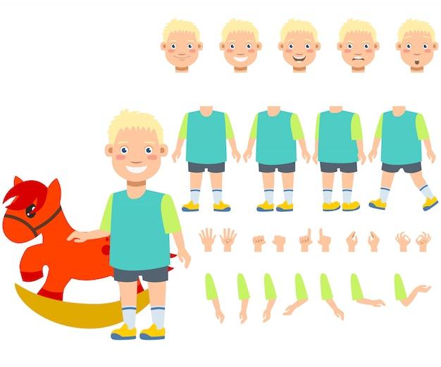 Vlakke pictogrammenreeks van jongen met hobbelpaardstuk speelgoed