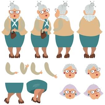 Vlakke pictogrammenreeks van oude dame met zak