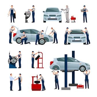 Vlakke pictogrammenreeks verschillende arbeiders in auto