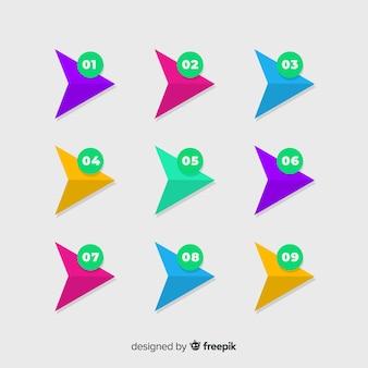 Vlakke pijl opsommingsteken verzameling