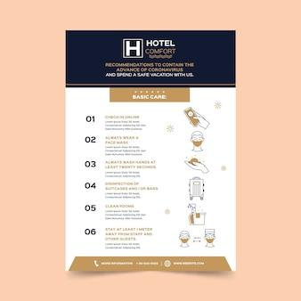 Vlakke poster voor coronaviruspreventie voor hotels