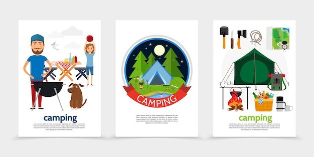 Vlakke posters voor openluchtrecreatie