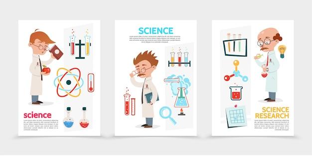 Vlakke posters voor wetenschappelijk onderzoek met kolven van wetenschappers, buizen, vergrootglas, nota, bol, atoom en molecuul