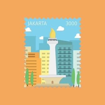Vlakke postzegel djakarta indonesië