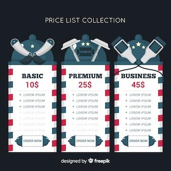 Vlakke prijslijst verzameling