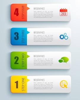 Vlakke reeks van kleurrijke geordende horizontale zaken infographic met geïsoleerd tekstveld