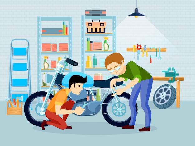 Vlakke reparatie motorfiets samenstelling met vader fietser en zijn zoon in de garage