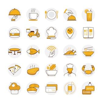 Vlakke restaurant en voedselpictogrammen