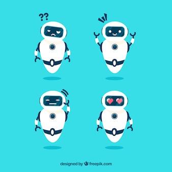 Vlakke robotcollectie met verschillende poses
